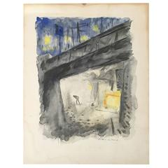 Charles Picart le Doux Signed Watercolor, Scene by the Bridge, France, 1920s