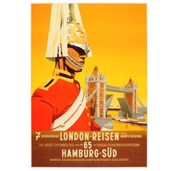 Rare Original 1935 Travel Poster Advertising London by Hamburg Sud Shipping Line