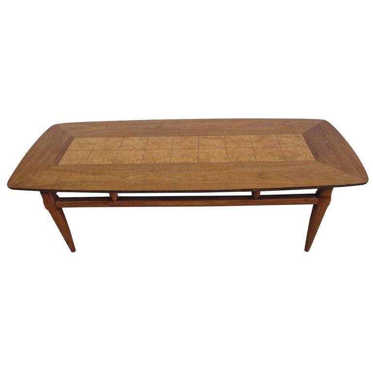 Cantilevered and Inlaid Italian Cocktail Table For Sale