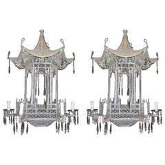 Pair of Italian Chinoiserie Pagoda Form Beaded Glass and Crystal Chandeliers