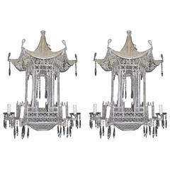 Pagoda chandeliers 73 for sale on 1stdibs pair of italian chinoiserie pagoda form beaded glass and crystal chandeliers aloadofball Image collections