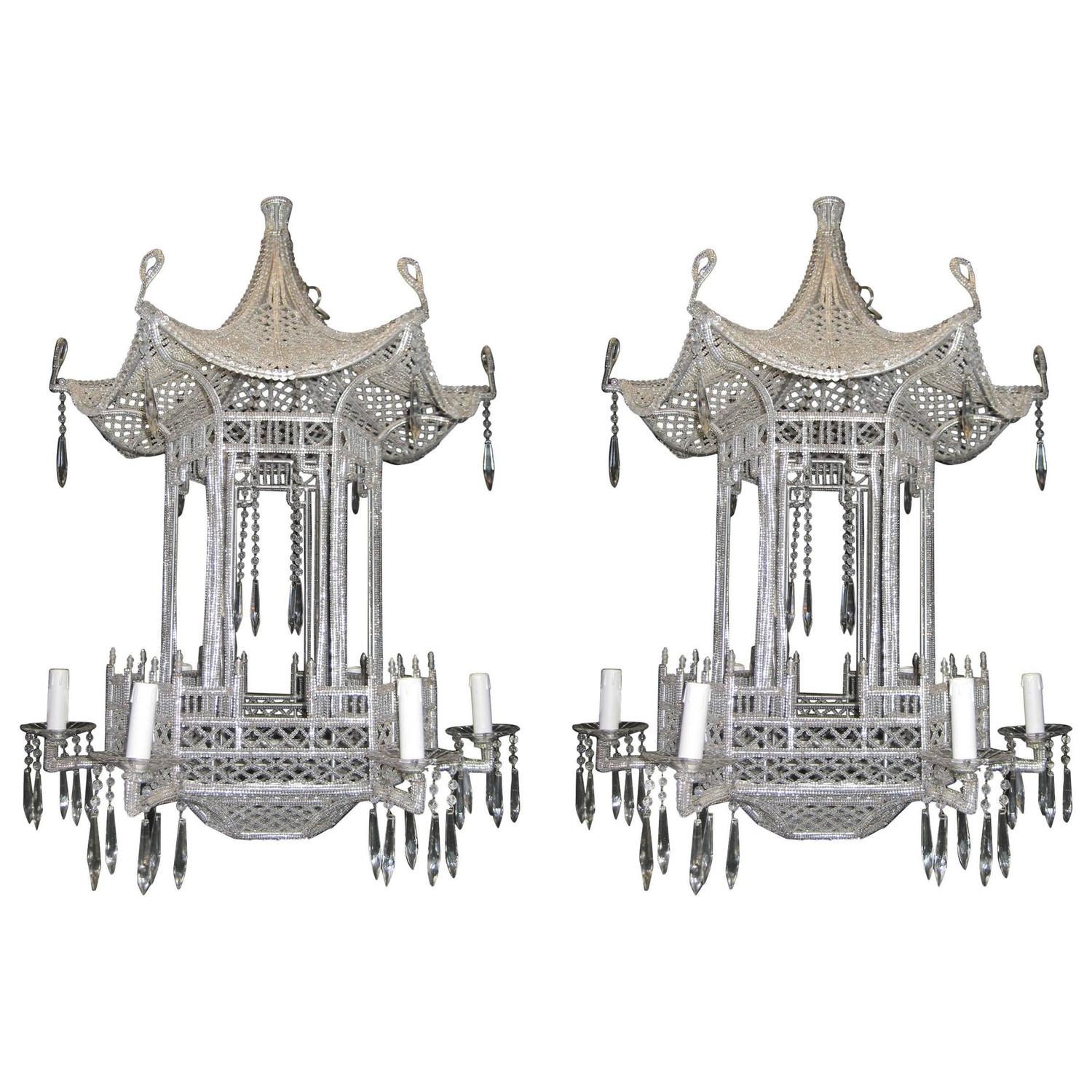 Pagoda shaped crystal chandelier for sale at 1stdibs aloadofball Choice Image