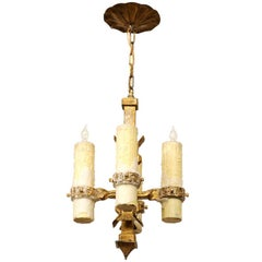 French Vintage Four-Light Gilt Iron Light Fixture with Large Wax Candles