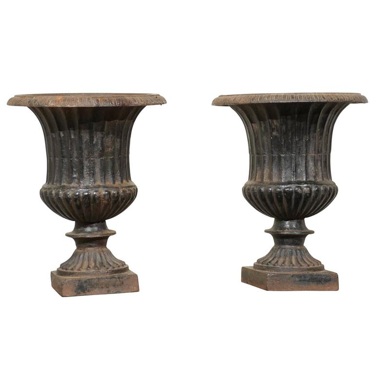 Pair of 19th Century Iron Urns from France For Sale