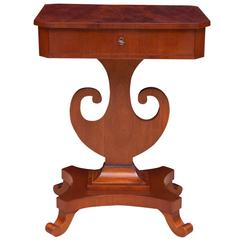 Antique Karl Johan Side Table with Lyre Base in Mahogany, Sweden, circa 1845