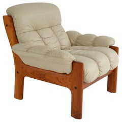 Postmodern Leather and Teak Club Chair by J. E. Ekornes