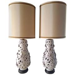 Pair of Monumental Glazed Terra Cotta Floral Lamps