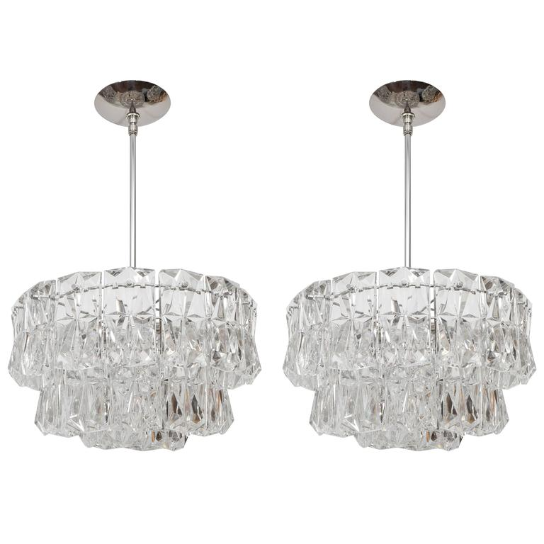 Three-Tier Facet-Cut Crystal Chandeliers