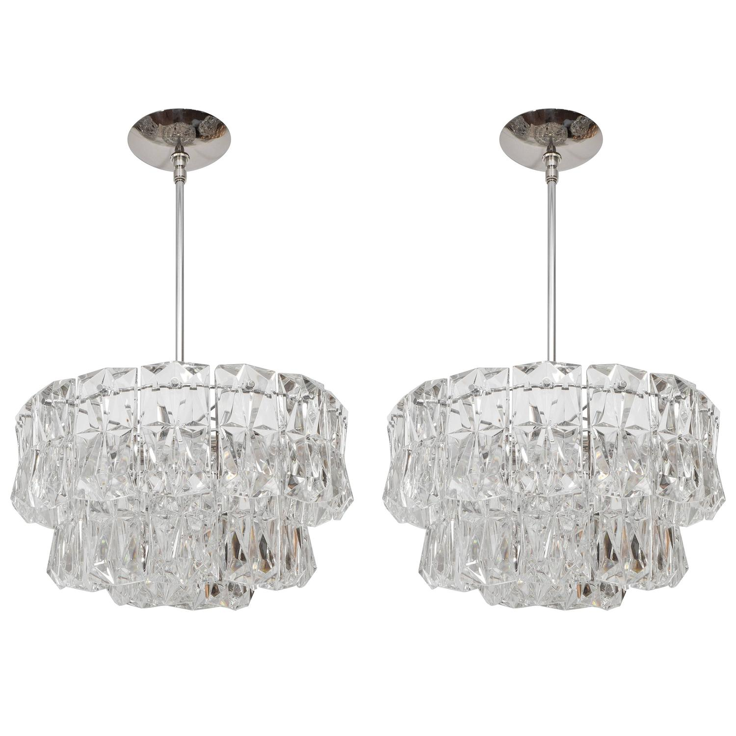 three tier facet cut crystal chandeliers for sale at 1stdibs