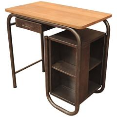 Industrial Child's Desk 1950s in Metal with Oak Top
