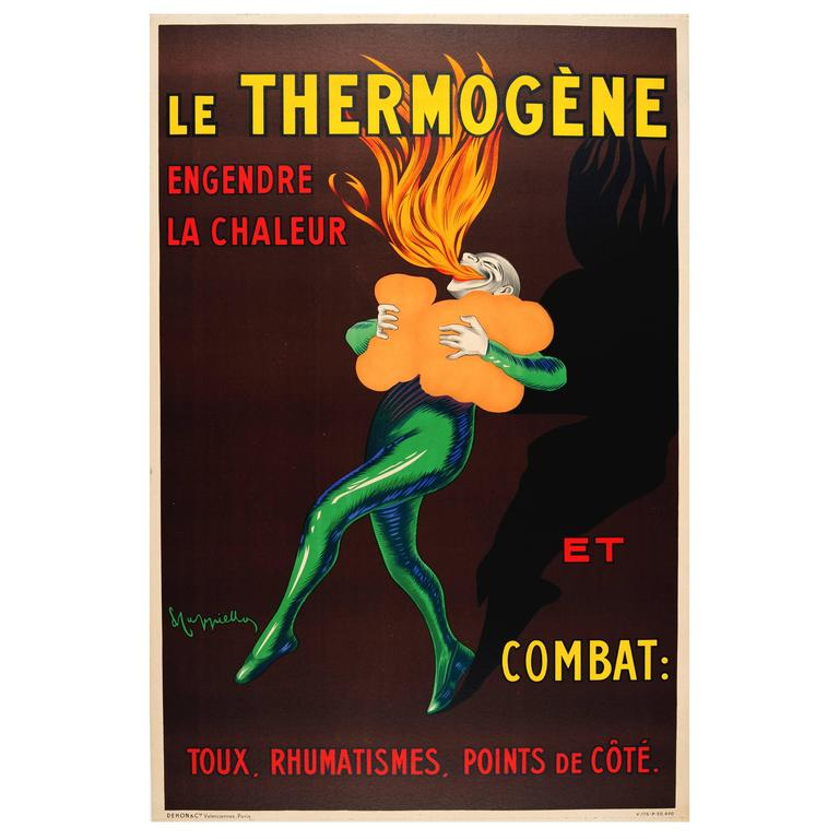 """Original Vintage Advertising Poster """"Le Thermogene,"""" Iconic Design by Cappiello"""