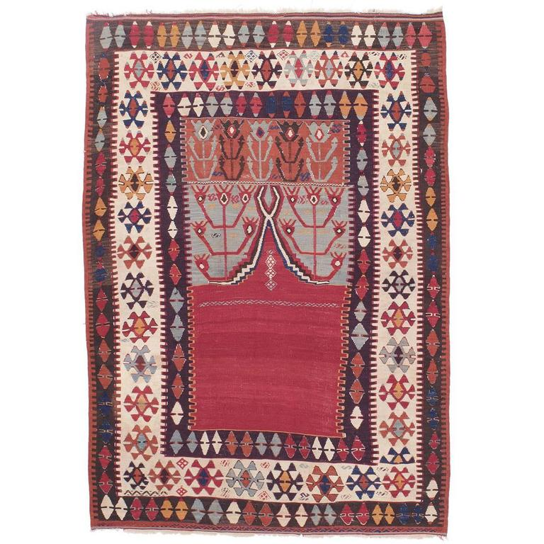 "Antique Central Anatolian Kilim Rug with ""Tulips"""