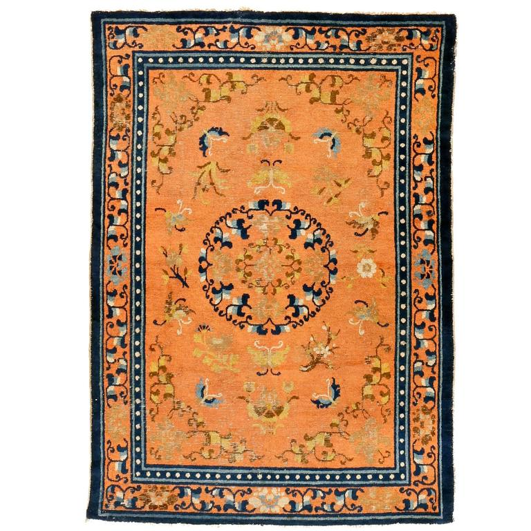 Early Ningxia Rug With Floral Medallion And Butterflies
