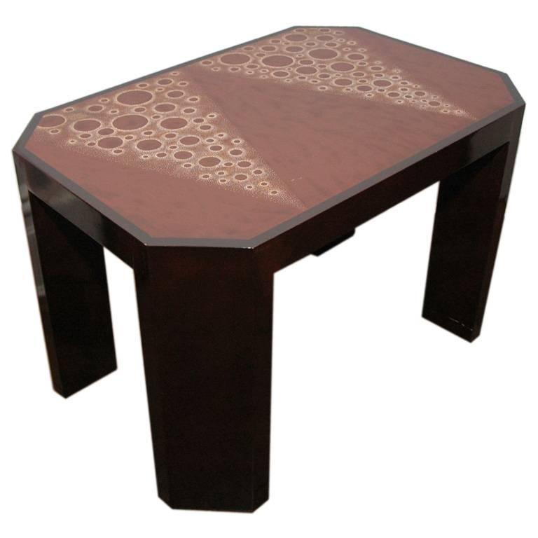 Art Deco Eggshell Lacquer Side Table For Sale