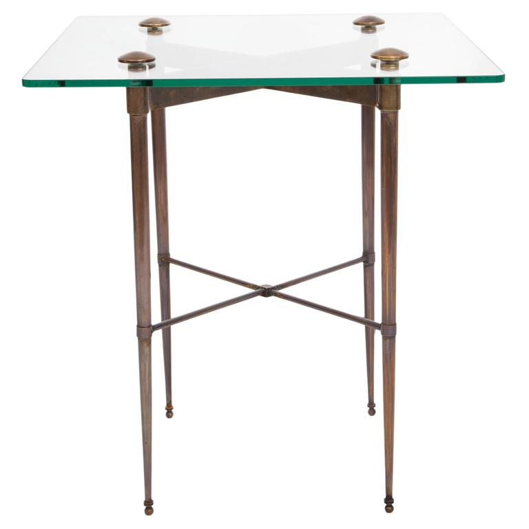 Pair Of Elegant Brass And Glass Top End Tables For Sale At 1stdibs