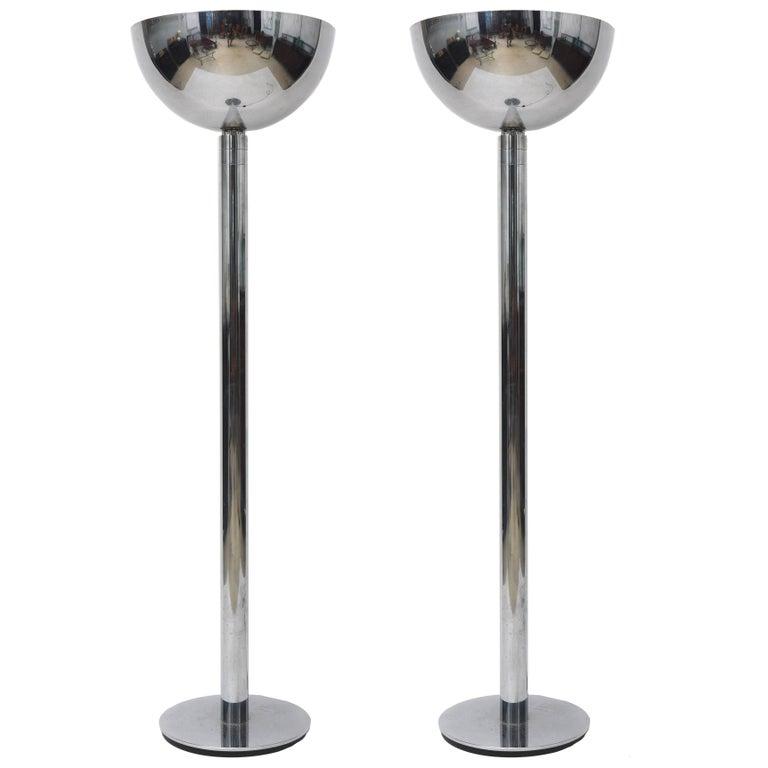 Pair of American Modern Gunmetal Floor Lamps, Style of Karl Springer