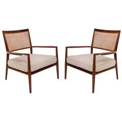 Pair of Carlos Milan Cane Seat & Back Armchairs in Sucupira with Beige Cushions