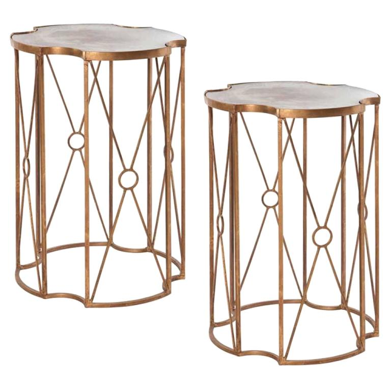Pair of Gilt Metal and Antique Mirror Drinks Tables in the Style of Bagues 1