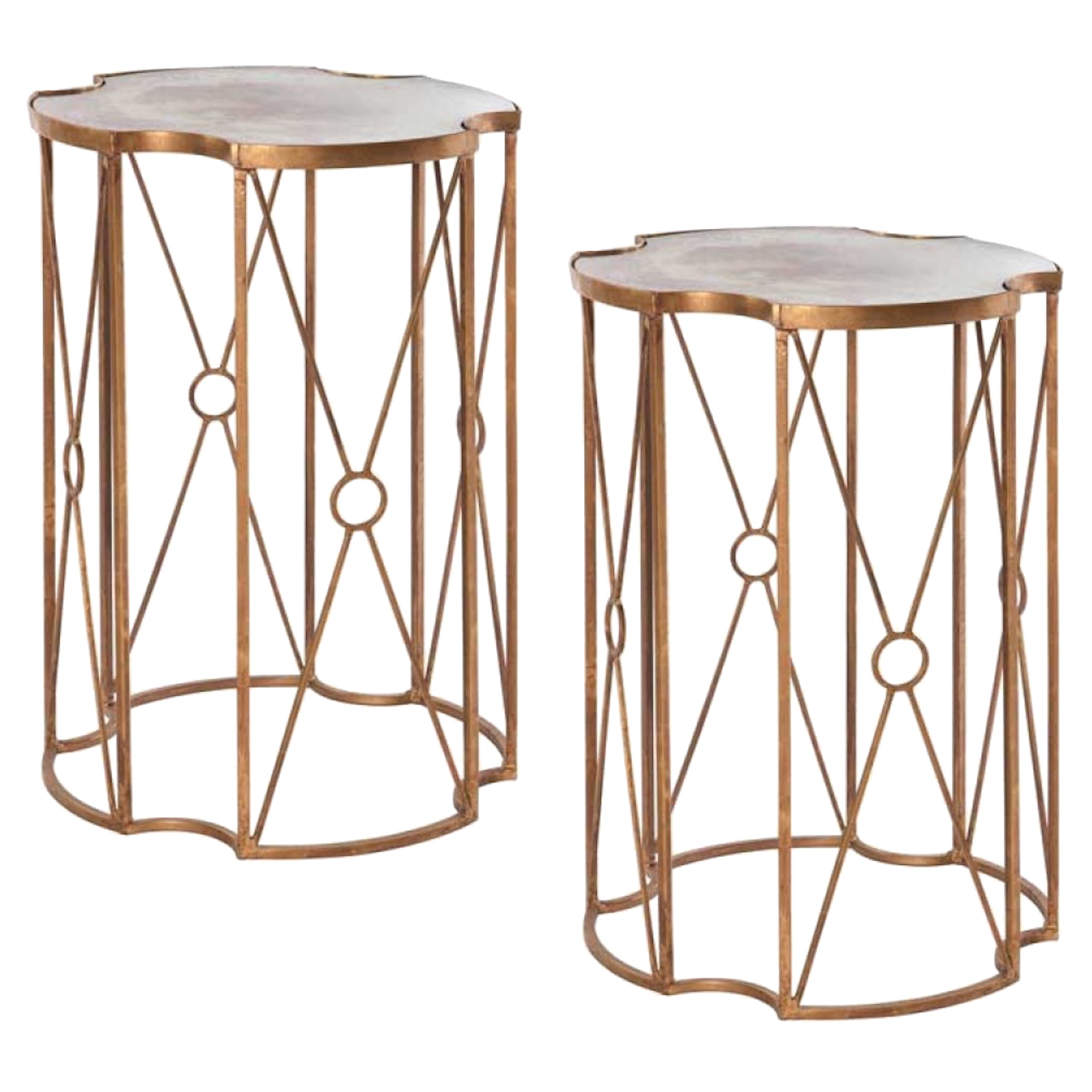 Two Gilt Metal and Antique Mirror Drinks Tables in the Style of Bagues.