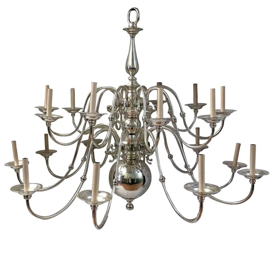 Large Silver Plated Chandelier