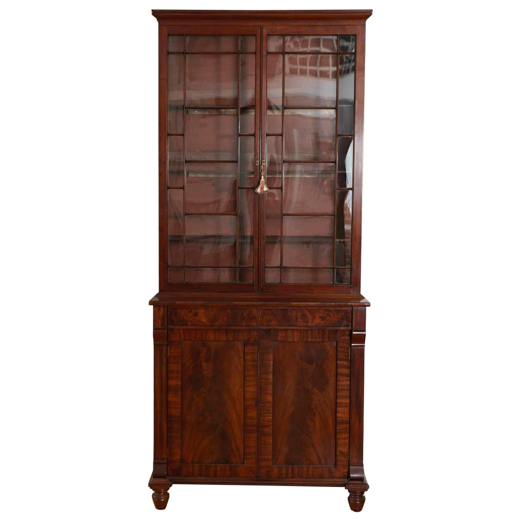 Large Painted Wood Sliding Glass Door China Cabinet Display Case With Storage For Sale At 1stdibs