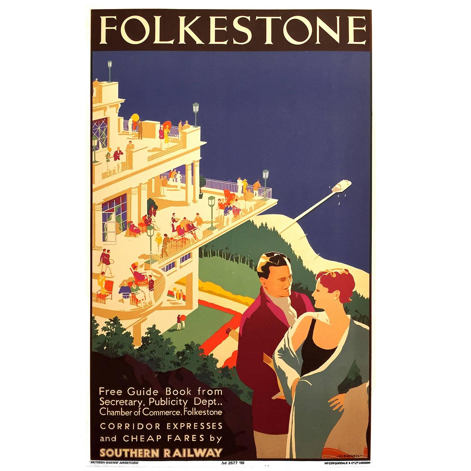 Art Deco Posters: English Art Deco Period Travel Poster For Folkestone By