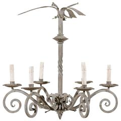 French Vintage Six-Light Light Grey Painted Iron Chandelier with Scrolled Arms