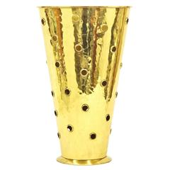 Art Deco Perforated and Hammered Brass Umbrella Stand, Germany, 1930s