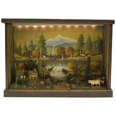 Antique Diorama of American Farm Scene with Cow, Farmhouse and Trees