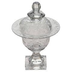 Webb Handblown Wheel Cut Crystal Covered Candy Dish