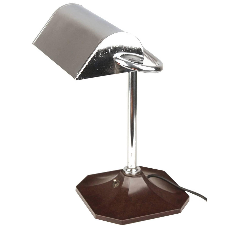French Art Deco Desk Lamp, Chrome and Bakelite, 1930s Modernist ...