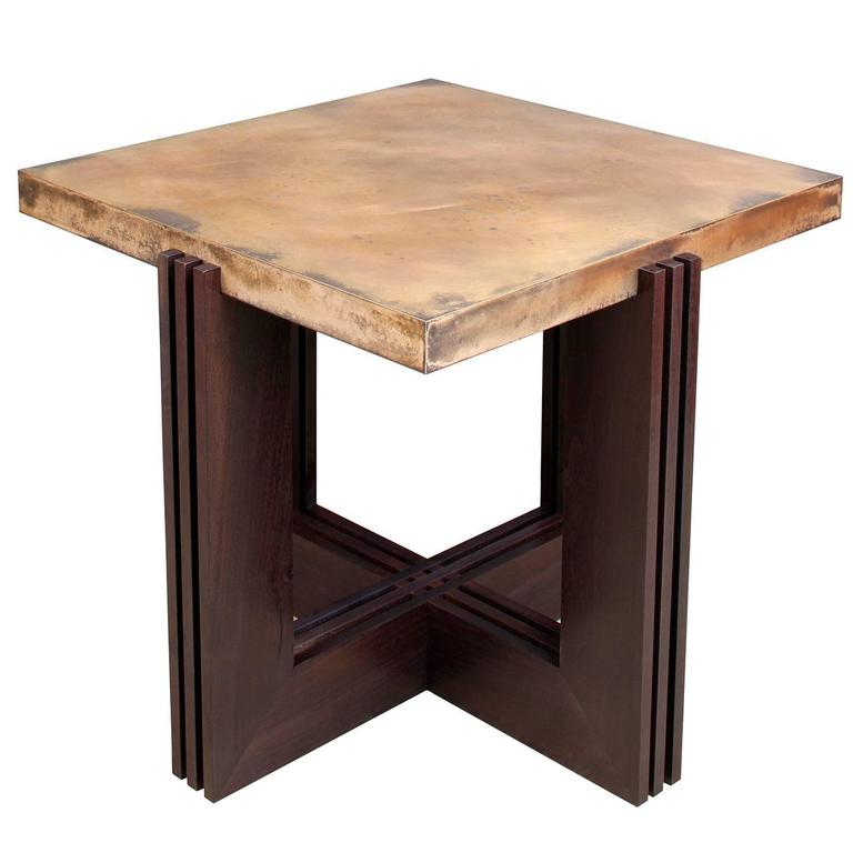 """FLW"" Side Table in Etched Bronze and Ebonized Walnut by Studio Roeper For Sale"
