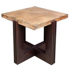 U0026quot;FLWu0026quot; Side Table In Etched Bronze And Ebonized Walnut ...