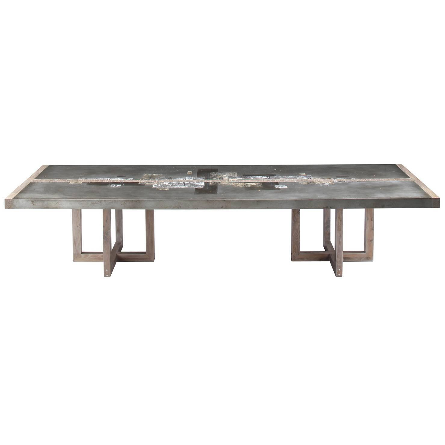 quot divided lands quot dining table in etched zinc and elm smoke rare sculptural byron botker for landes chrome dining set