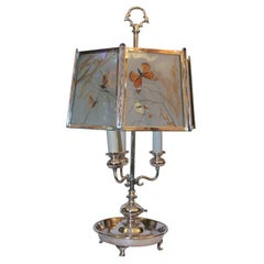 Pairpoint Table Lamp Art Deco silver plate with butterflies behind glass