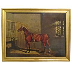 """""""Portrait of a Bay Hunter in Stable"""", Attr. to Lambert Marshall, Mid 19th C."""