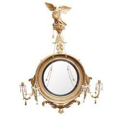 Magnificent Large-Scale Regency Giltwood Convex Mirror