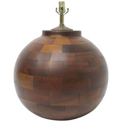 Very Large Hand Made Mid-20th Century Walnut Lamp