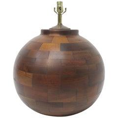 Very Large Hand Made Mid-20th Century Walnut Lamp