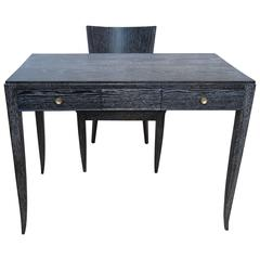 French 1940s Black Cerused Lady's Desk and Chair