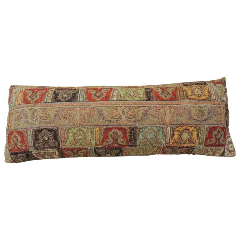 CLOSE OUT SALE: 19th Century Patchwork Paisley Bolster Decorative Pillow