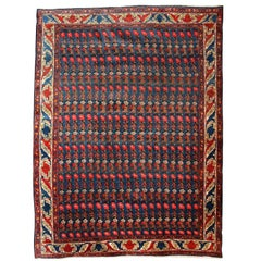 Persian Senneh Carpet circa 1900 with Pure Wool Pile and Natural Vegetable Dyes