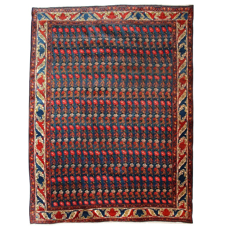 Persian Senneh Carpet circa 1900 with Pure Wool Pile and Natural Vegetable Dyes For Sale