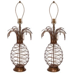 A Pair of Midcentury Metal Wire Pineapple Form Table Lamps
