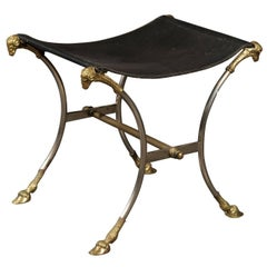 Italian Directoire Style Steel and Brass Stool with Ram's Heads and Hoof Feet