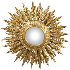 Large Italian Vintage Giltwood Sunburst Mirror with Three Layers of Sunrays