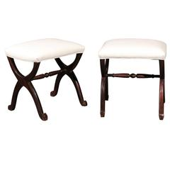 Pair of 1880s French Dark Mahogany X-Form Stools with New Muslin Upholstery