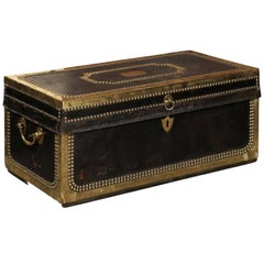 English Mid-19th Century Camphor Wood Trunk, Leather and Brass Bound
