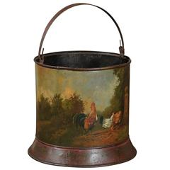 French Painted Tole Bucket with Bucolic Chicken Barnyard Scene, circa 1880