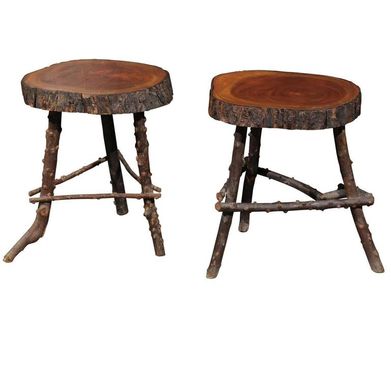 Pair Of French Rustic Twig Stools With Round Wooden Top
